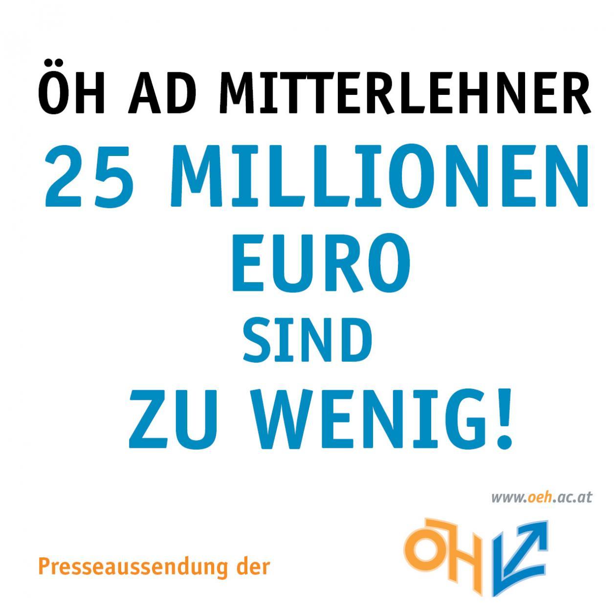 ÖH ad Mitterlehner 25 Millionen Euro sind zu wenig!