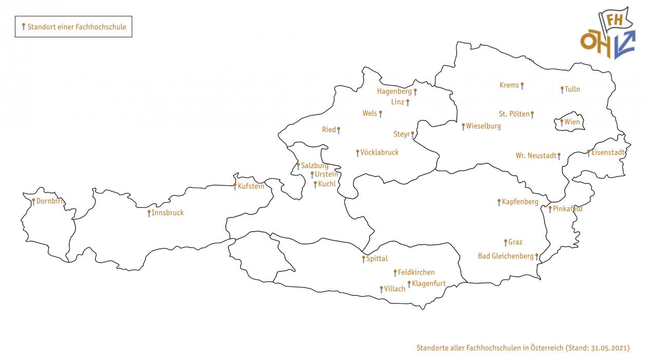 Abbildung: Überblick der regionalen Verteilung der Fachhochschulen