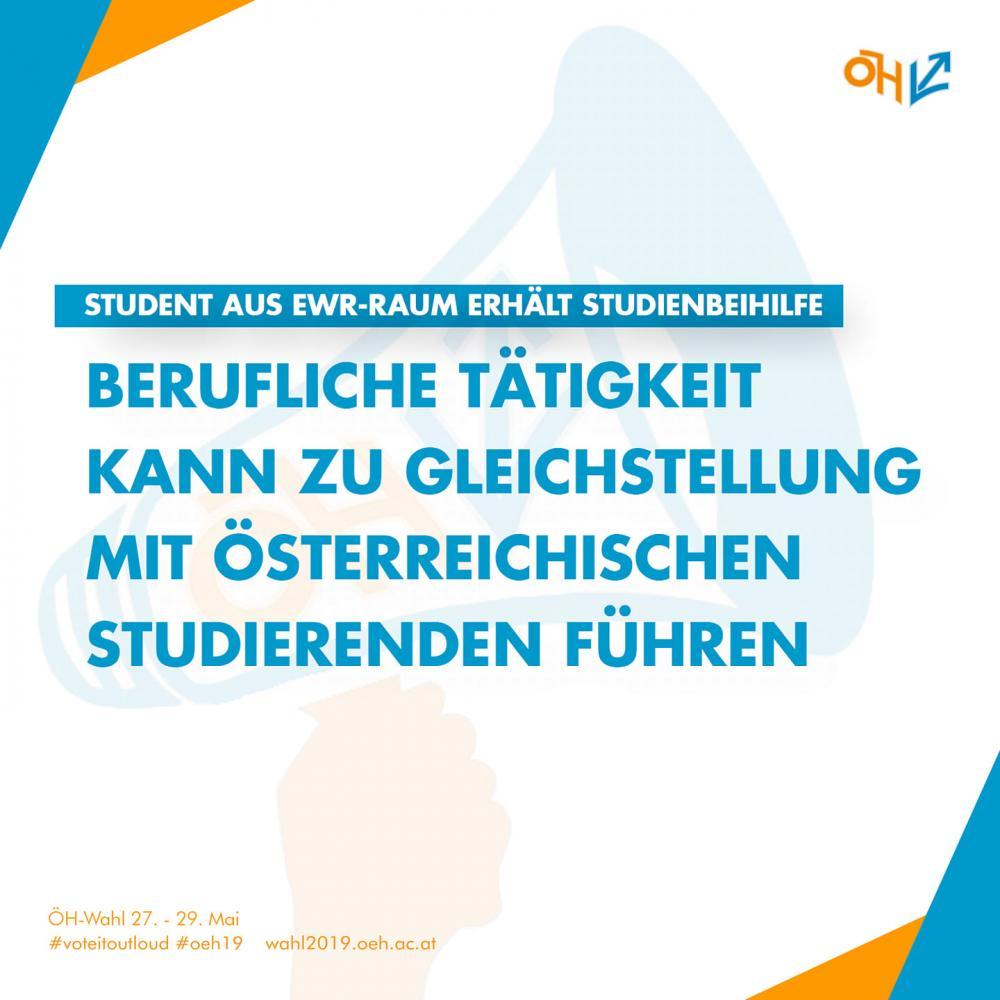 Berufliche Tätigkeit kann zur Gleichstellung mit österreichischen Studierenden führen