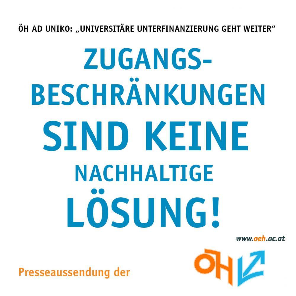 """ÖH ad uniko: """"Universitäre Unterfinanzierung geht weiter!"""""""