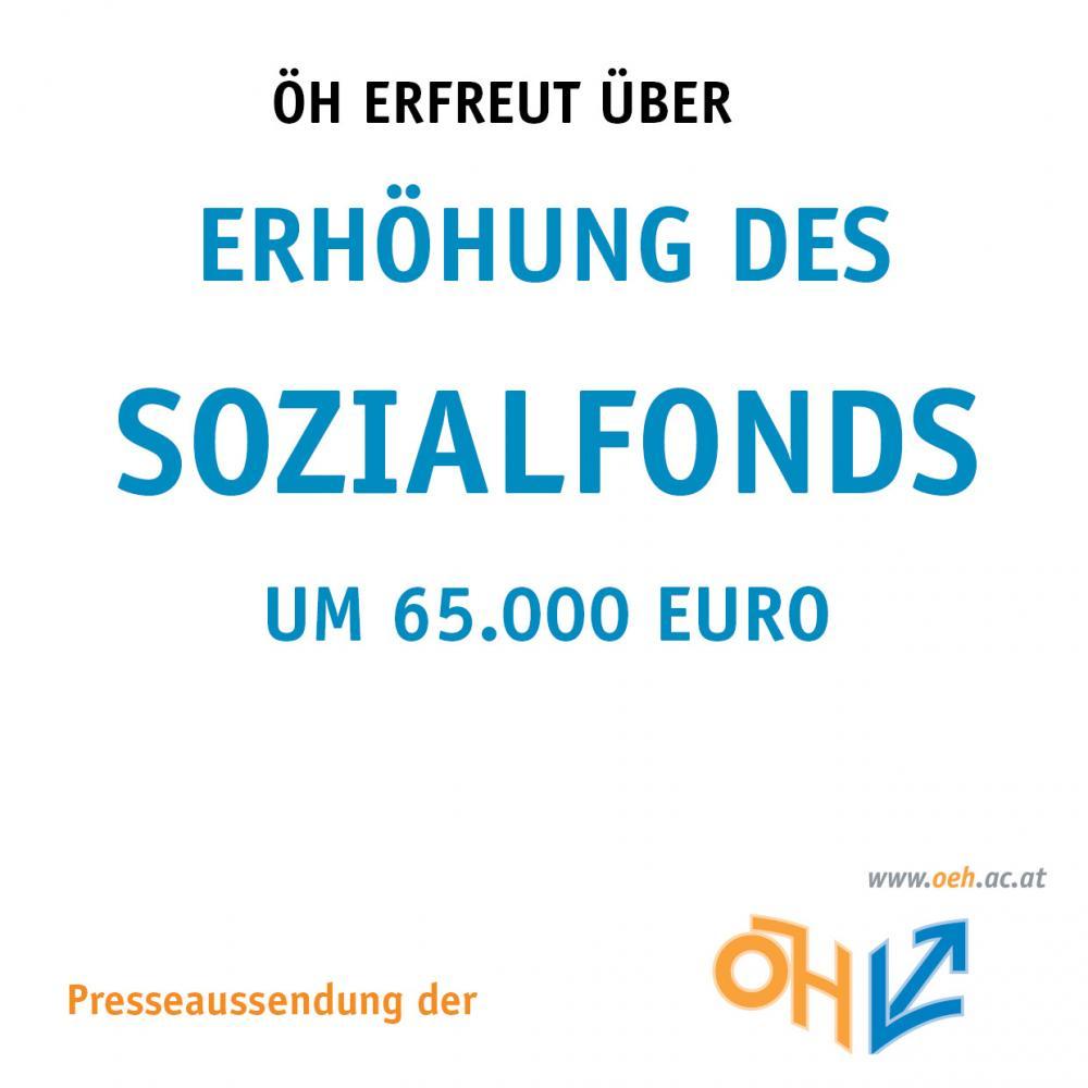 ÖH erfreut über Erhöhung des Sozialfonds um 65.000 EURO