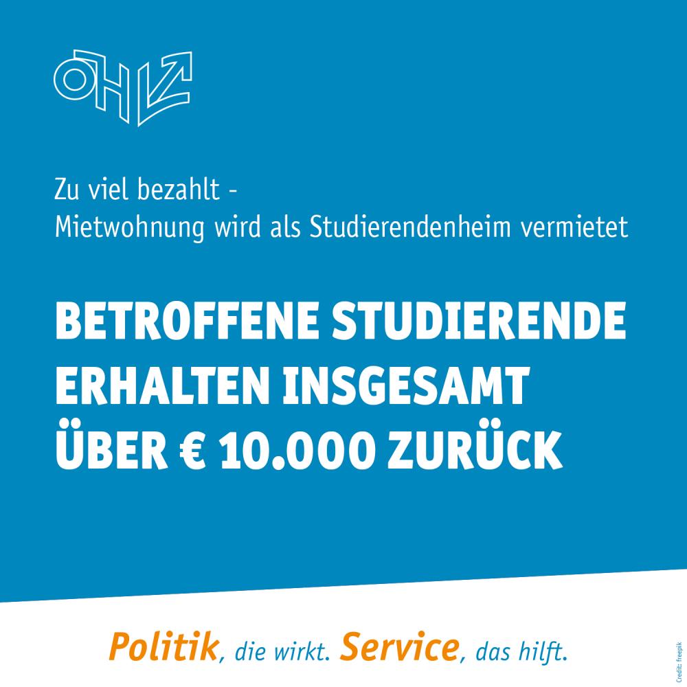 Mietwohnung als Studierendenheim vermietet: Betroffene Studierende erhalten insgesamt über € 10.000 zurück